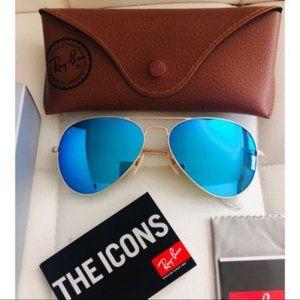 Ray-Ban Aviator Blue Gold Frame sunglasses RB3025